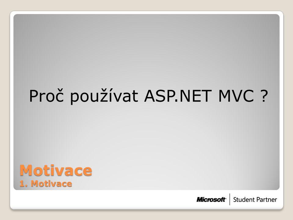 Motivace 1. Motivace Proč používat ASP.NET MVC ?