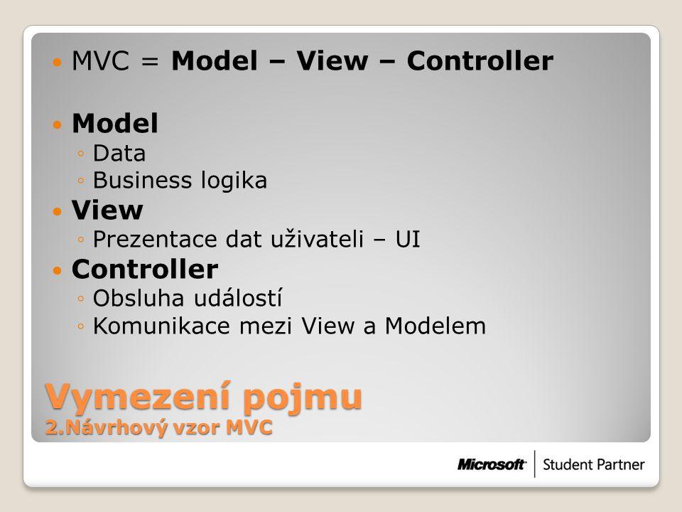 Vymezení pojmu 2.Návrhový vzor MVC  MVC = Model – View – Controller  Model ◦Data ◦Business logika  View ◦Prezentace dat uživateli – UI  Controller