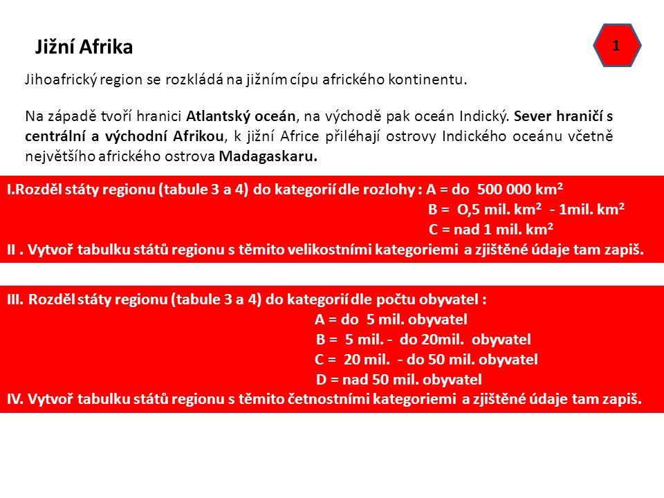 Jižní Afrika Jihoafrický region se rozkládá na jižním cípu afrického kontinentu. Na západě tvoří hranici Atlantský oceán, na východě pak oceán Indický
