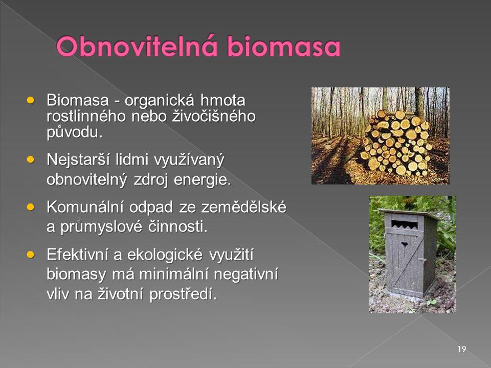 19  Biomasa - organická hmota rostlinného nebo živočišného původu.  Nejstarší lidmi využívaný obnovitelný zdroj energie.  Komunální odpad ze zemědě