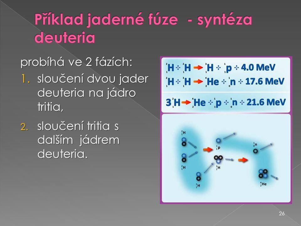 26 probíhá ve 2 fázích: 1.sloučení dvou jader deuteria na jádro tritia, 2. sloučení tritia s dalším jádrem deuteria.