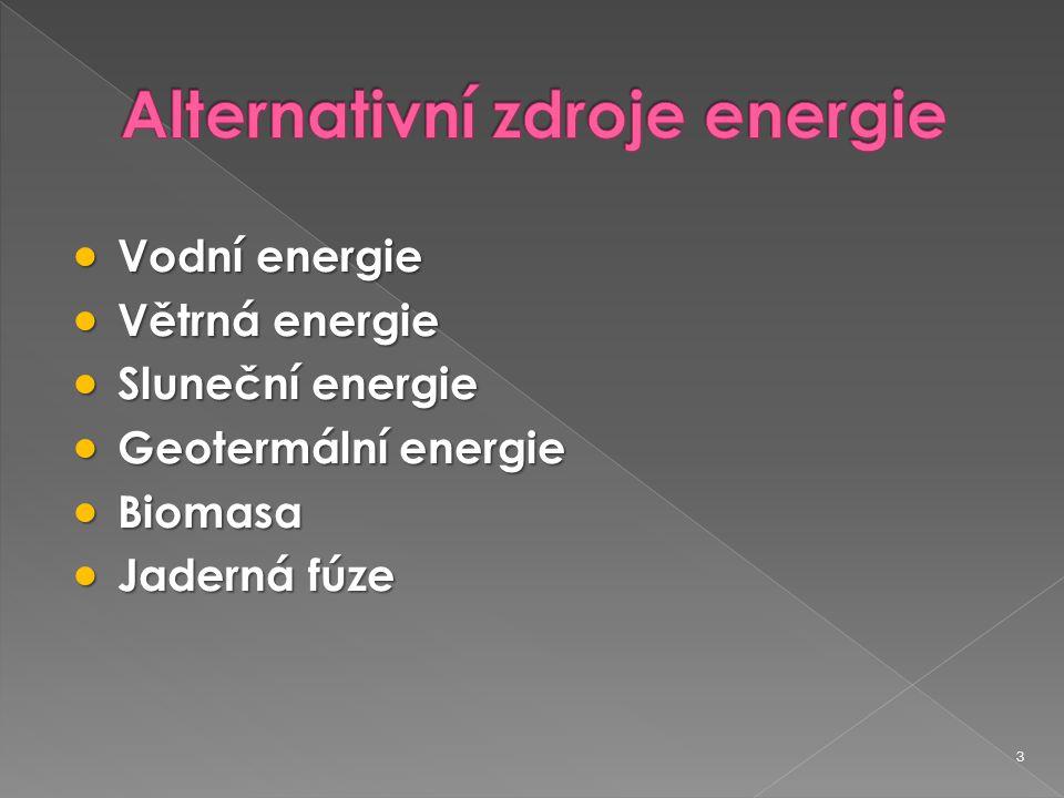 3  Vodní energie  Větrná energie  Sluneční energie  Geotermální energie  Biomasa  Jaderná fúze