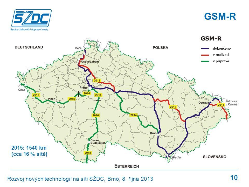 GSM-R 10 dokončeno v realizaci v přípravě 2015: 1540 km (cca 16 % sítě) Rozvoj nových technologií na síti SŽDC, Brno, 8. října 2013