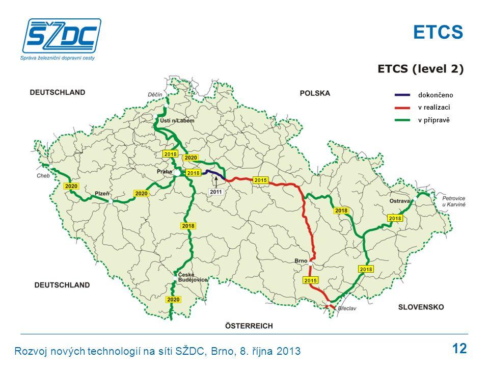 GSM-R ETCS 12 dokončeno v realizaci v přípravě 2018 2015 2018 Rozvoj nových technologií na síti SŽDC, Brno, 8. října 2013