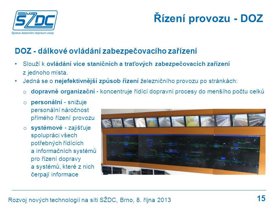15 DOZ - dálkové ovládání zabezpečovacího zařízení •Slouží k ovládání více staničních a traťových zabezpečovacích zařízení z jednoho místa. •Jedná se