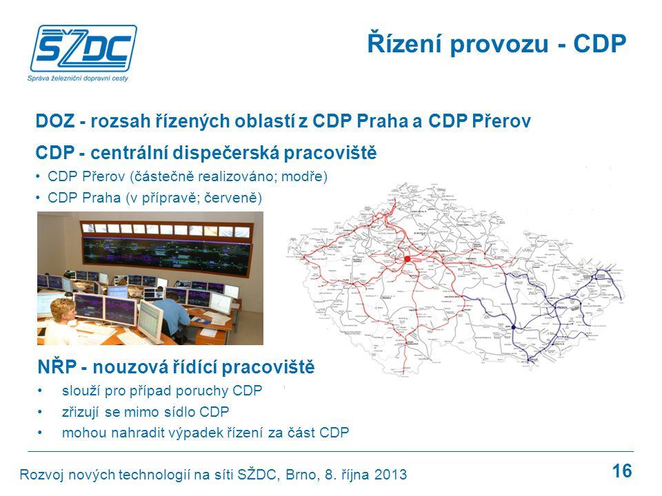 16 Řízení provozu - CDP CDP - centrální dispečerská pracoviště •CDP Přerov (částečně realizováno; modře) •CDP Praha (v přípravě; červeně) Rozvoj novýc