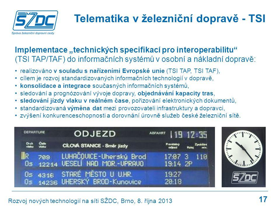 17 •realizováno v souladu s nařízeními Evropské unie (TSI TAP, TSI TAF), •cílem je rozvoj standardizovaných informačních technologií v dopravě, •konso