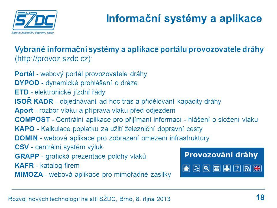 18 Informační systémy a aplikace Rozvoj nových technologií na síti SŽDC, Brno, 8. října 2013 Vybrané informační systémy a aplikace portálu provozovate