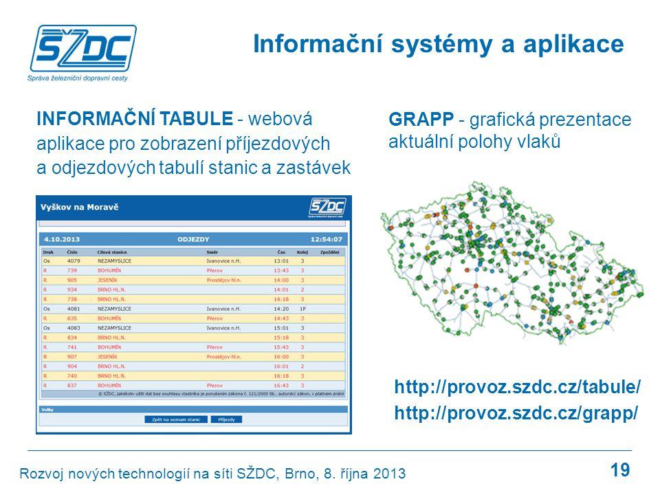 19 Informační systémy a aplikace Rozvoj nových technologií na síti SŽDC, Brno, 8. října 2013 INFORMAČNÍ TABULE - webová aplikace pro zobrazení příjezd