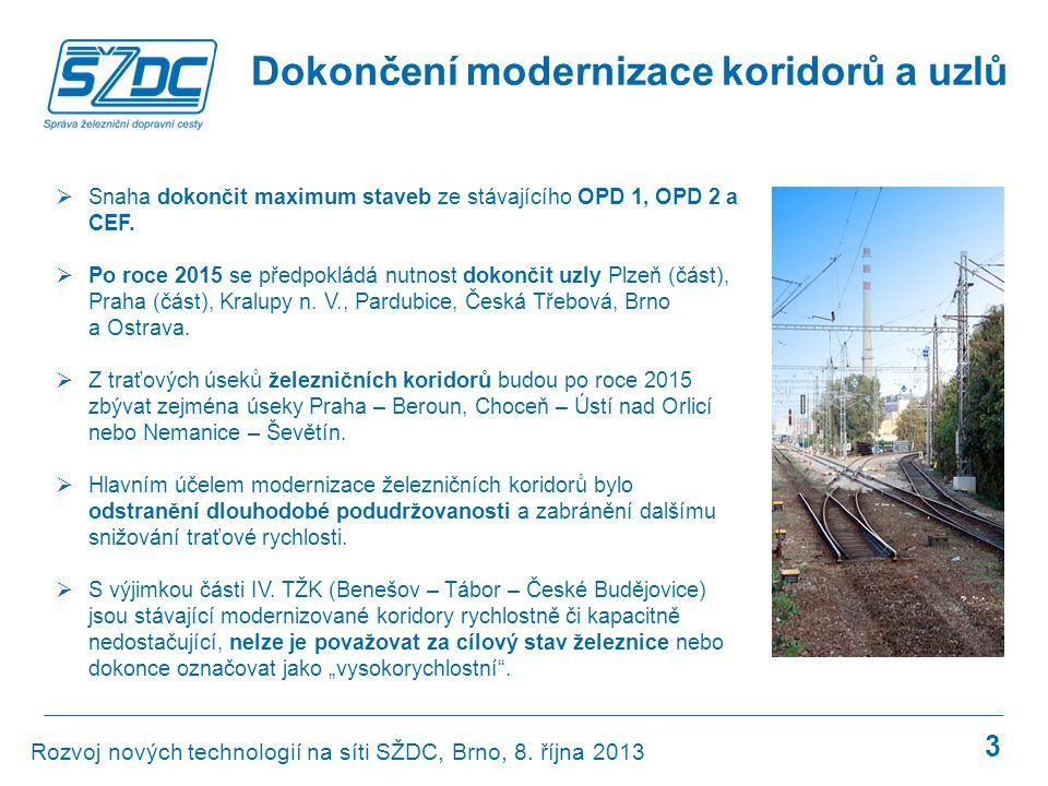 3 Dokončení modernizace koridorů a uzlů  Snaha dokončit maximum staveb ze stávajícího OPD 1, OPD 2 a CEF.  Po roce 2015 se předpokládá nutnost dokon