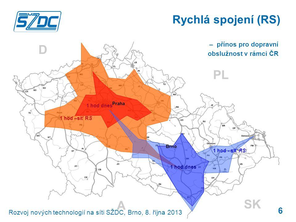 1 hod - síť RS ) 1 hod dnes 1 hod –síť RS 1 hod dnes 6 Rychlá spojení (RS) Praha Brno Rozvoj nových technologií na síti SŽDC, Brno, 8. října 2013 – př