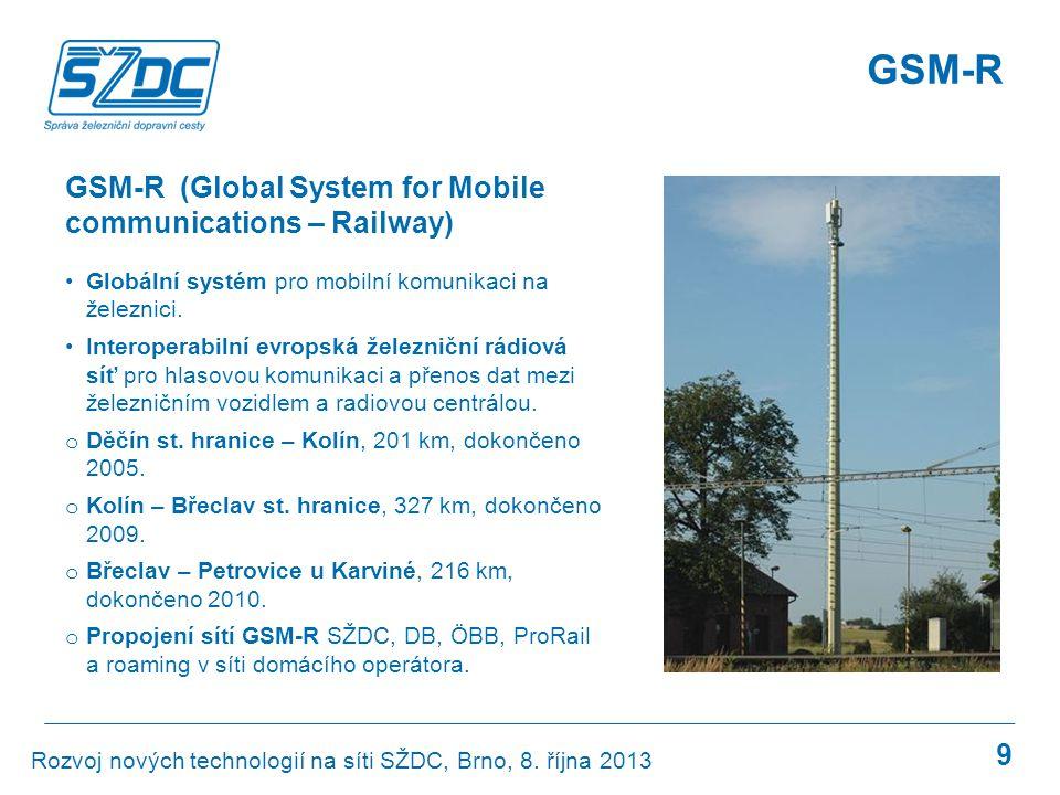 GSM-R 10 dokončeno v realizaci v přípravě 2015: 1540 km (cca 16 % sítě) Rozvoj nových technologií na síti SŽDC, Brno, 8.