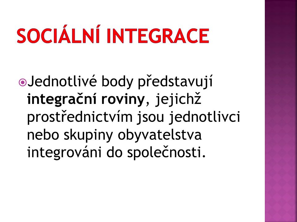  Jednotlivé body představují integrační roviny, jejichž prostřednictvím jsou jednotlivci nebo skupiny obyvatelstva integrováni do společnosti.