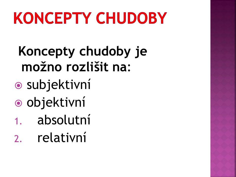 Koncepty chudoby je možno rozlišit na:  subjektivní  objektivní 1. absolutní 2. relativní
