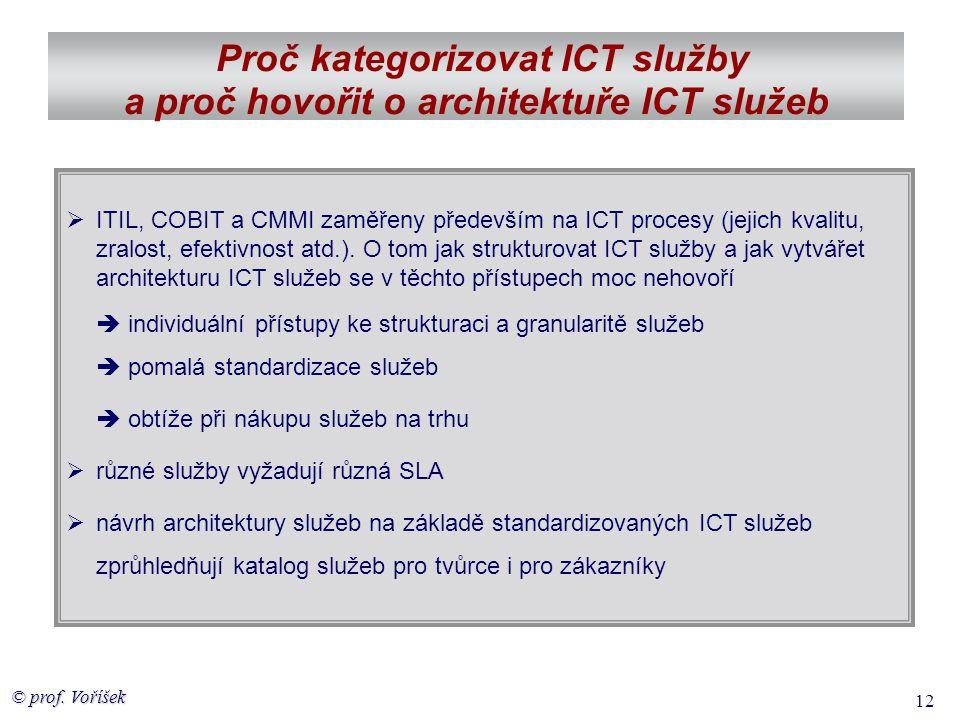 © prof. Voříšek 12 Proč kategorizovat ICT služby a proč hovořit o architektuře ICT služeb  ITIL, COBIT a CMMI zaměřeny především na ICT procesy (jeji