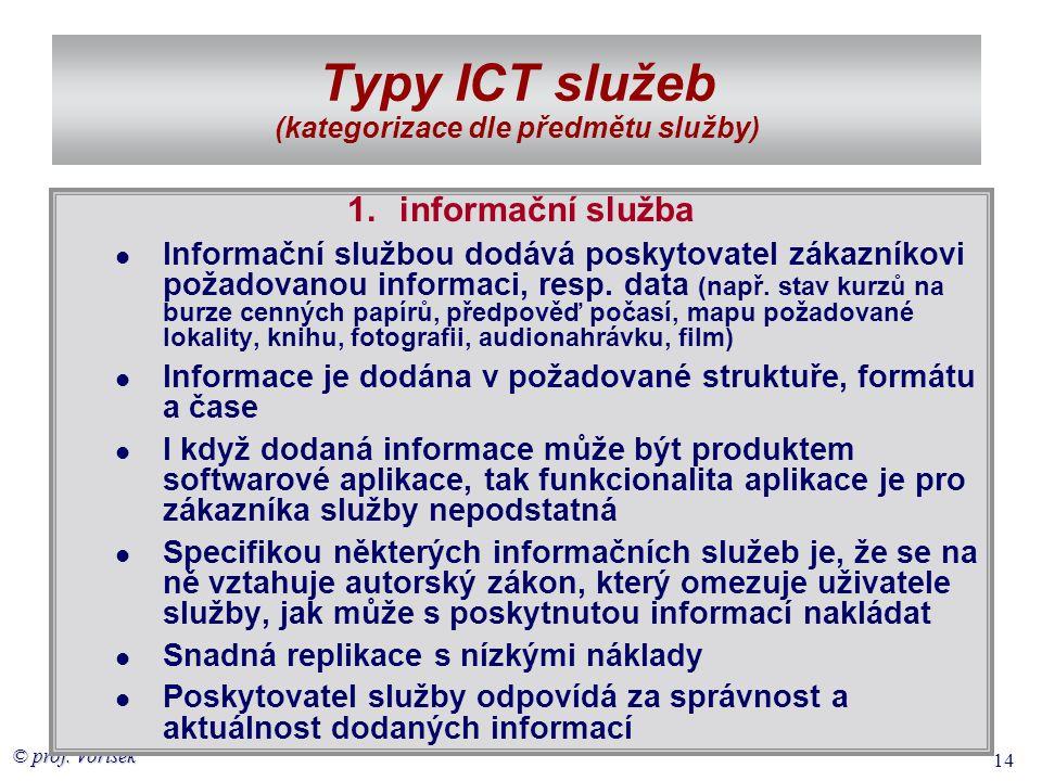 © prof. Voříšek 14 Typy ICT služeb (kategorizace dle předmětu služby) 1.informační služba  Informační službou dodává poskytovatel zákazníkovi požadov