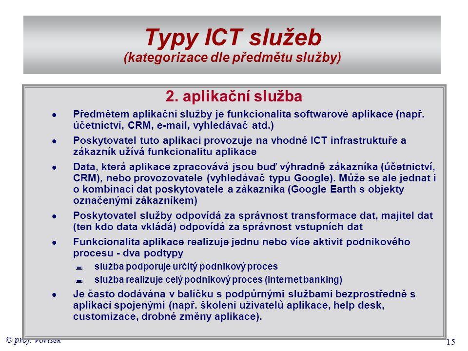 © prof. Voříšek 15 Typy ICT služeb (kategorizace dle předmětu služby) 2. aplikační služba  Předmětem aplikační služby je funkcionalita softwarové apl