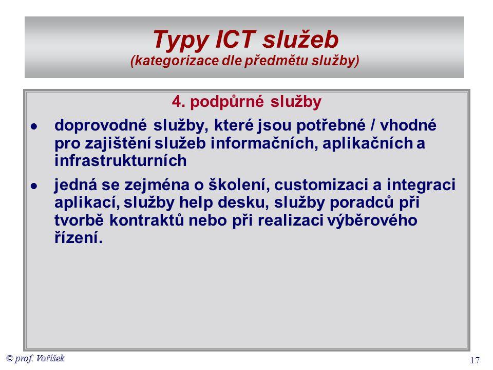 © prof. Voříšek 17 Typy ICT služeb (kategorizace dle předmětu služby) 4. podpůrné služby  doprovodné služby, které jsou potřebné / vhodné pro zajiště