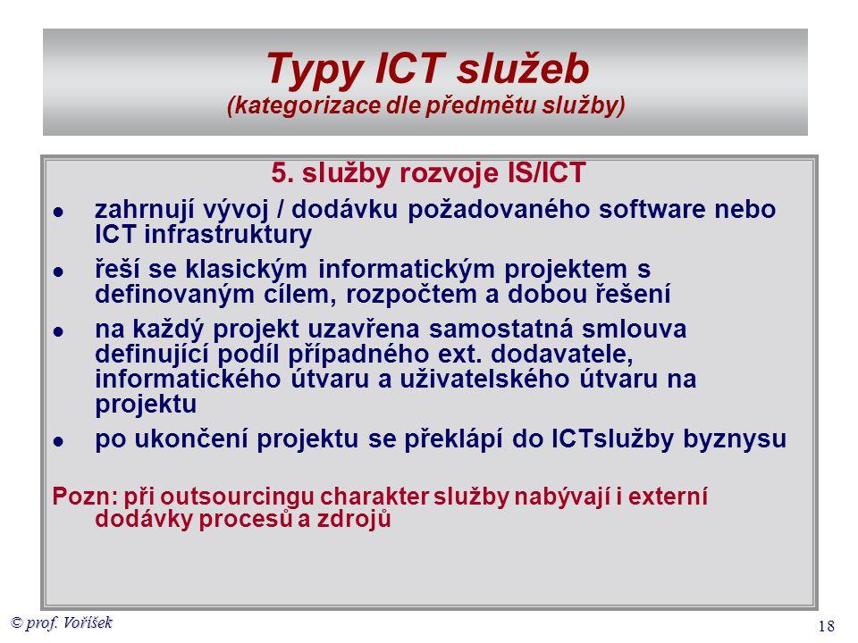 © prof. Voříšek 18 Typy ICT služeb (kategorizace dle předmětu služby) 5. služby rozvoje IS/ICT  zahrnují vývoj / dodávku požadovaného software nebo I