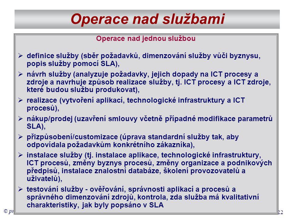 © prof. Voříšek 22 Operace nad službami Operace nad jednou službou  definice služby (sběr požadavků, dimenzování služby vůči byznysu, popis služby po