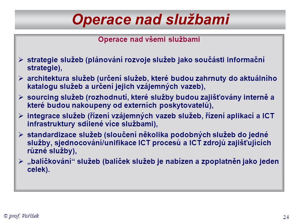 © prof. Voříšek 24 Operace nad službami Operace nad všemi službami  strategie služeb (plánování rozvoje služeb jako součásti informační strategie), 