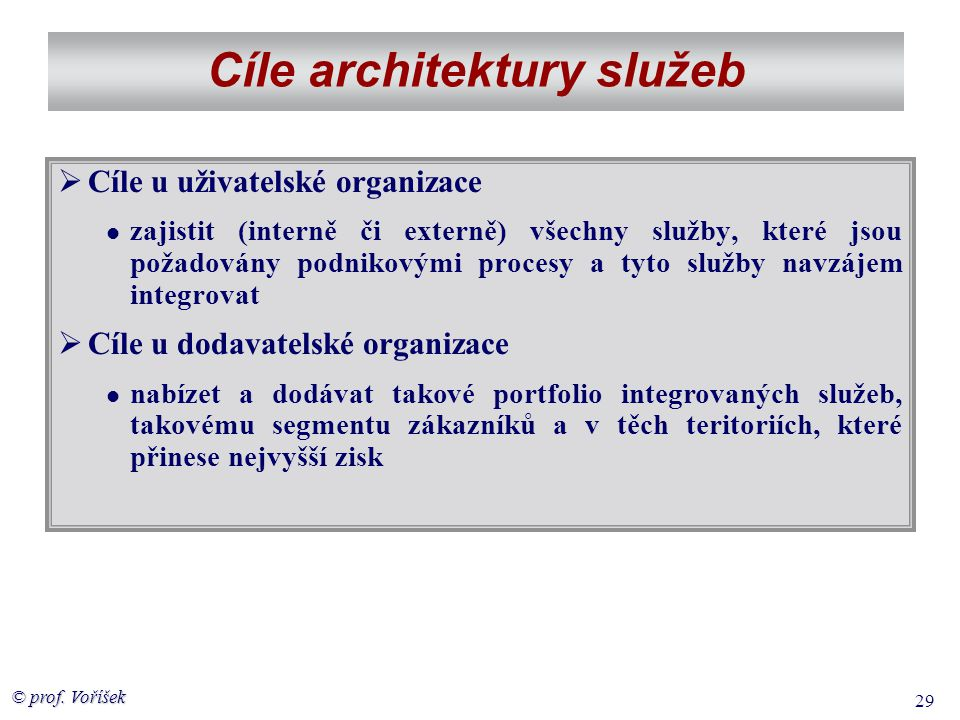 © prof. Voříšek 29 Cíle architektury služeb  Cíle u uživatelské organizace  zajistit (interně či externě) všechny služby, které jsou požadovány podn