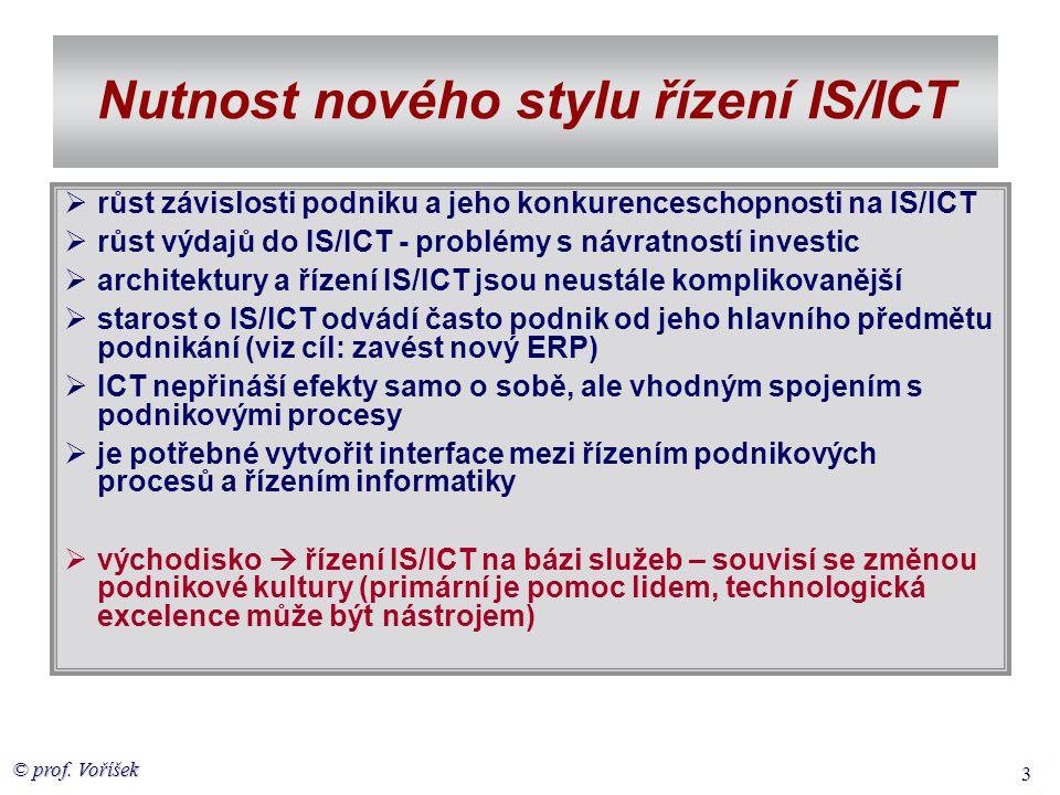 © prof. Voříšek 3 Nutnost nového stylu řízení IS/ICT  růst závislosti podniku a jeho konkurenceschopnosti na IS/ICT  růst výdajů do IS/ICT - problém