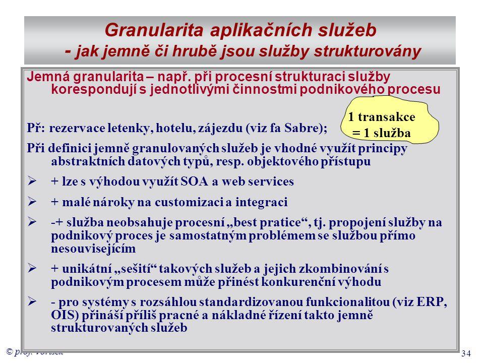 © prof. Voříšek 34 Granularita aplikačních služeb - jak jemně či hrubě jsou služby strukturovány Jemná granularita – např. při procesní strukturaci sl