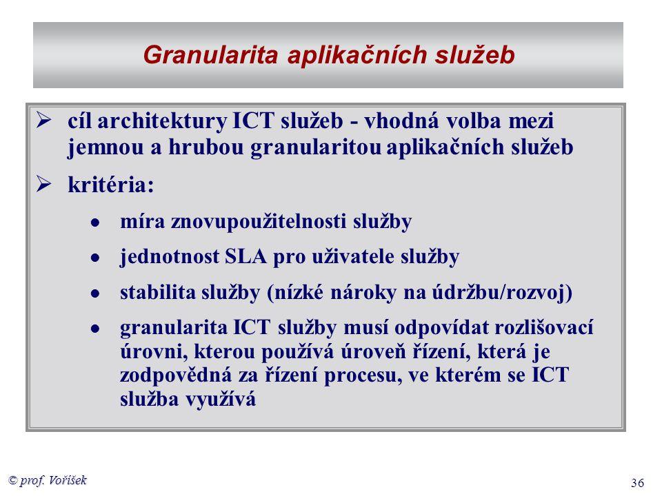 © prof. Voříšek 36 Granularita aplikačních služeb  cíl architektury ICT služeb - vhodná volba mezi jemnou a hrubou granularitou aplikačních služeb 