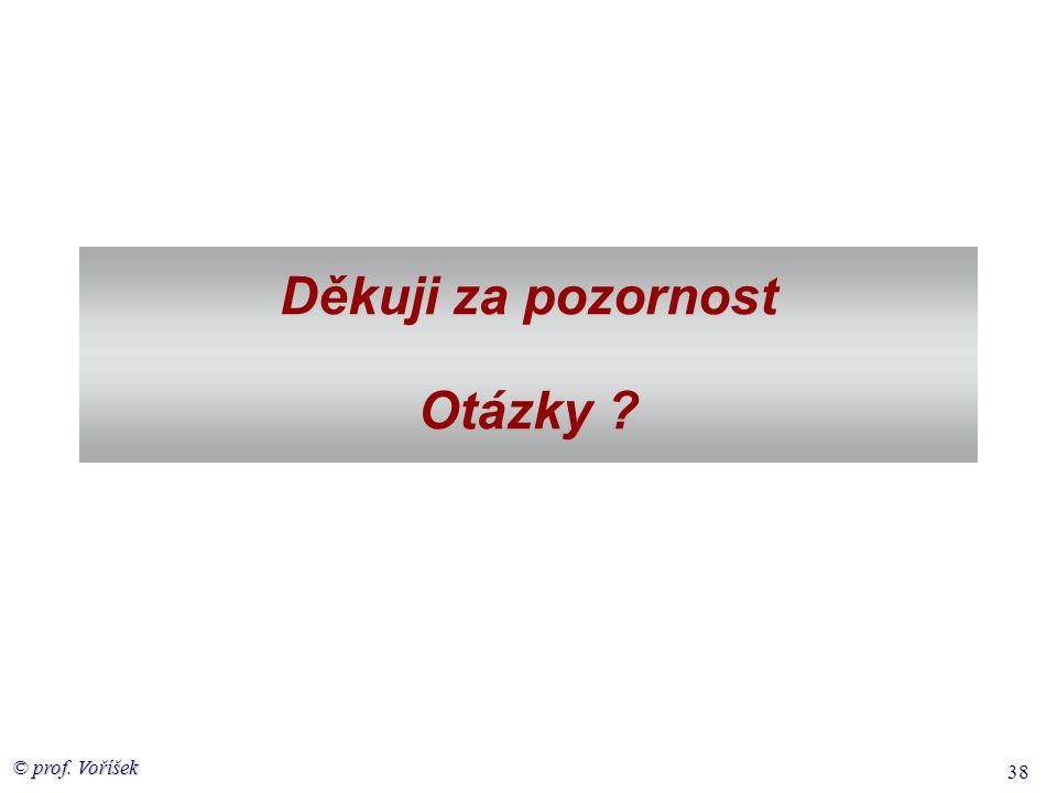 © prof. Voříšek 38 Děkuji za pozornost Otázky ?
