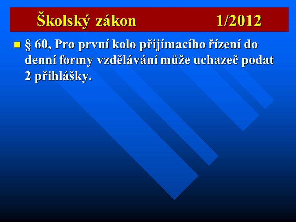 Školský zákon 1/2012  § 51, Ruší se výstupní hodnocení žáků pro přijímací řízení na střední školy.