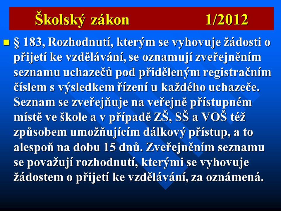 Školský zákon 1/2012  § 174 Česká školní inspekce podává návrh na odvolání ředitele.  § 176 ČŠI může podávat zřizovatelům škol a školských zařízení