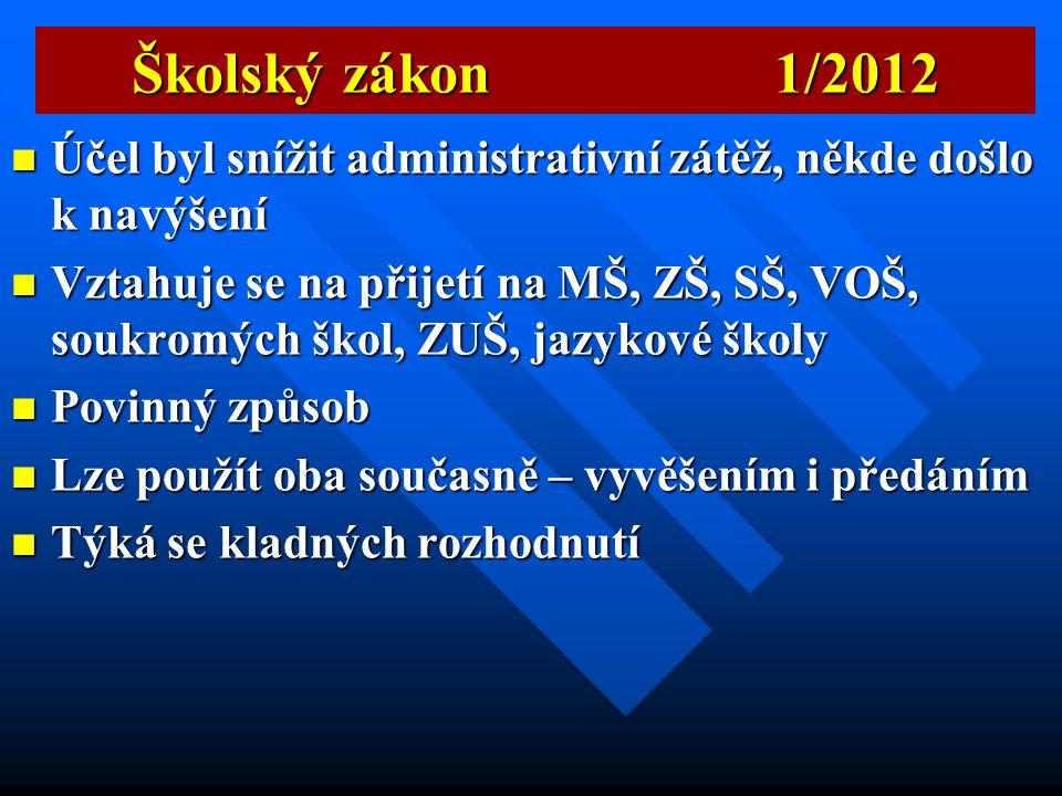 Školský zákon 1/2012  § 183, Rozhodnutí, kterým se vyhovuje žádosti o přijetí ke vzdělávání, se oznamují zveřejněním seznamu uchazečů pod přiděleným