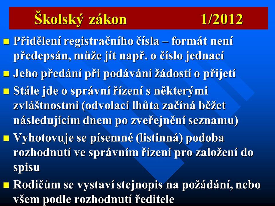 Školský zákon 1/2012  Účel byl snížit administrativní zátěž, někde došlo k navýšení  Vztahuje se na přijetí na MŠ, ZŠ, SŠ, VOŠ, soukromých škol, ZUŠ
