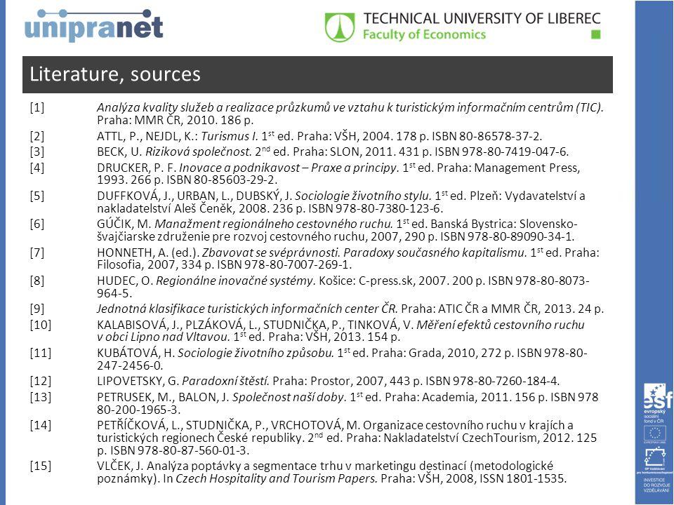 Literature, sources [1] Analýza kvality služeb a realizace průzkumů ve vztahu k turistickým informačním centrům (TIC).