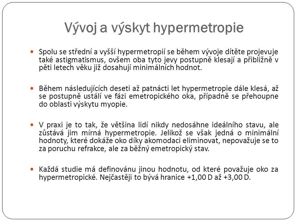 Vývoj a výskyt hypermetropie  Spolu se střední a vyšší hypermetropií se během vývoje dítěte projevuje také astigmatismus, ovšem oba tyto jevy postupn