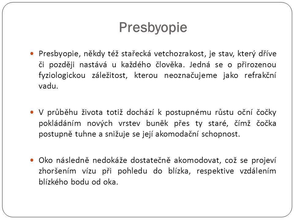 Presbyopie  Presbyopie, někdy též stařecká vetchozrakost, je stav, který dříve či později nastává u každého člověka. Jedná se o přirozenou fyziologic
