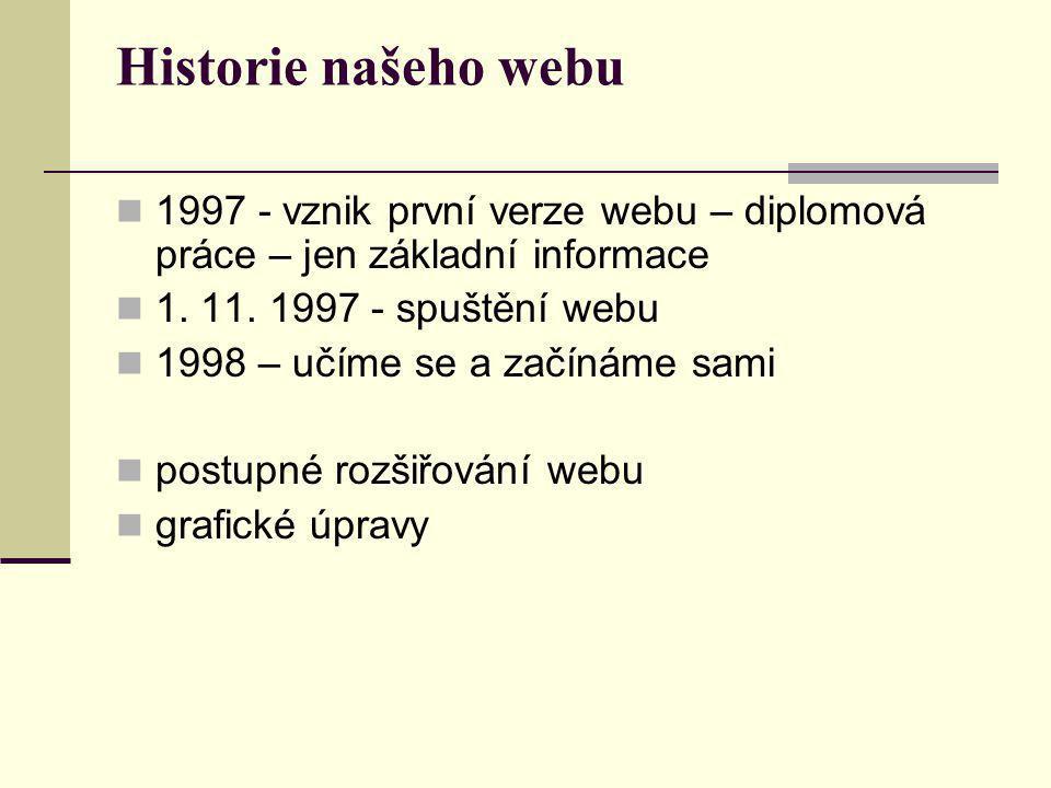 Historie našeho webu  1997 - vznik první verze webu – diplomová práce – jen základní informace  1.