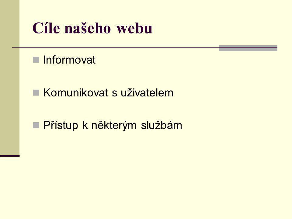 Cíle našeho webu  Informovat  Komunikovat s uživatelem  Přístup k některým službám