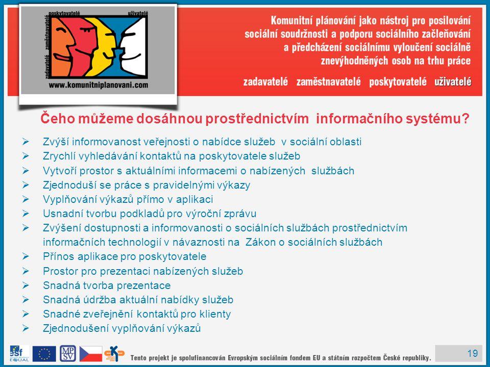19 Čeho můžeme dosáhnou prostřednictvím informačního systému.