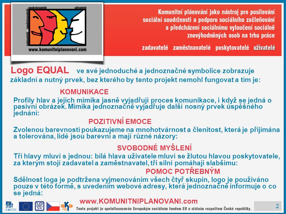 2 Logo EQUAL ve své jednoduché a jednoznačné symbolice zobrazuje základní a nutný prvek, bez kterého by tento projekt nemohl fungovat a tím je: KOMUNI