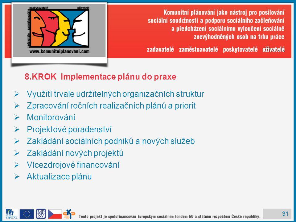 31 8.KROK Implementace plánu do praxe  Využití trvale udržitelných organizačních struktur  Zpracování ročních realizačních plánů a priorit  Monitor