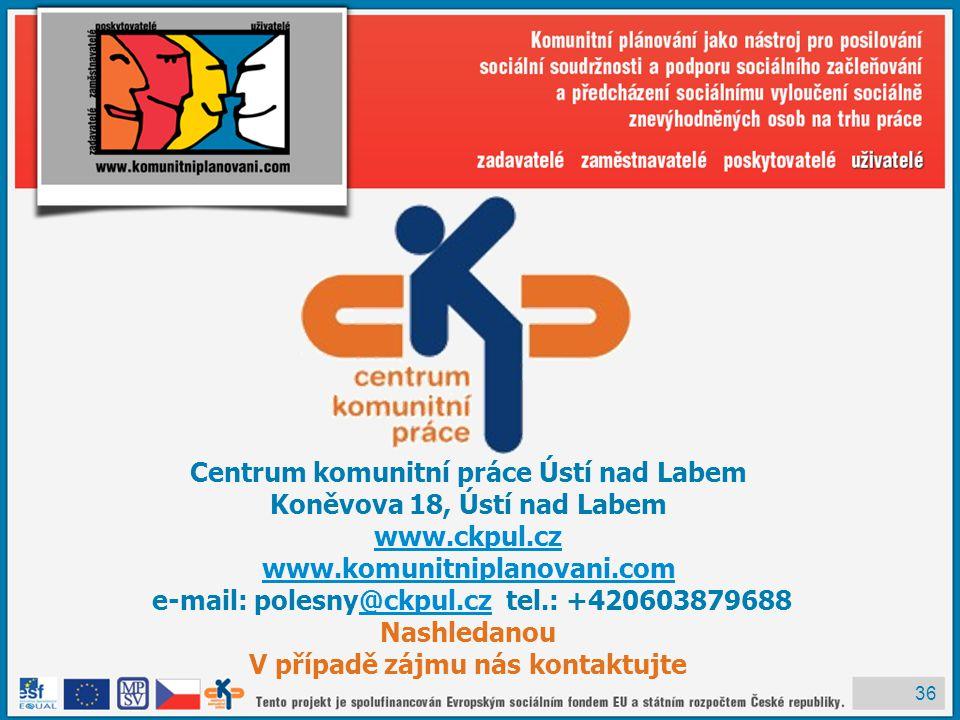36 Centrum komunitní práce Ústí nad Labem Koněvova 18, Ústí nad Labem www.ckpul.cz www.komunitniplanovani.com e-mail: polesny@ckpul.cz tel.: +420603879688@ckpul.cz Nashledanou V případě zájmu nás kontaktujte