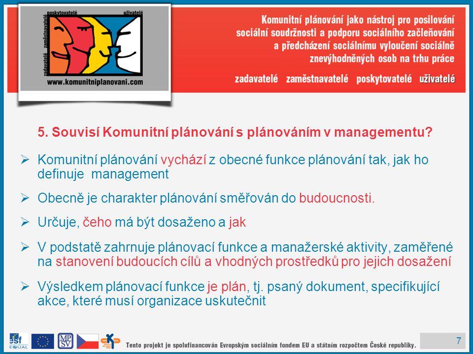 7 5. Souvisí Komunitní plánování s plánováním v managementu?  Komunitní plánování vychází z obecné funkce plánování tak, jak ho definuje management 