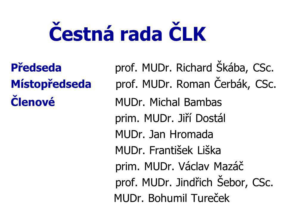 Čestná rada ČLK Předseda prof.MUDr. Richard Škába, CSc.