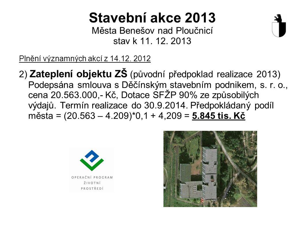 Stavební akce 2013 Města Benešov nad Ploučnicí stav k 11. 12. 2013 Plnění významných akcí z 14.12. 2012 2) Zateplení objektu ZŠ (původní předpoklad re