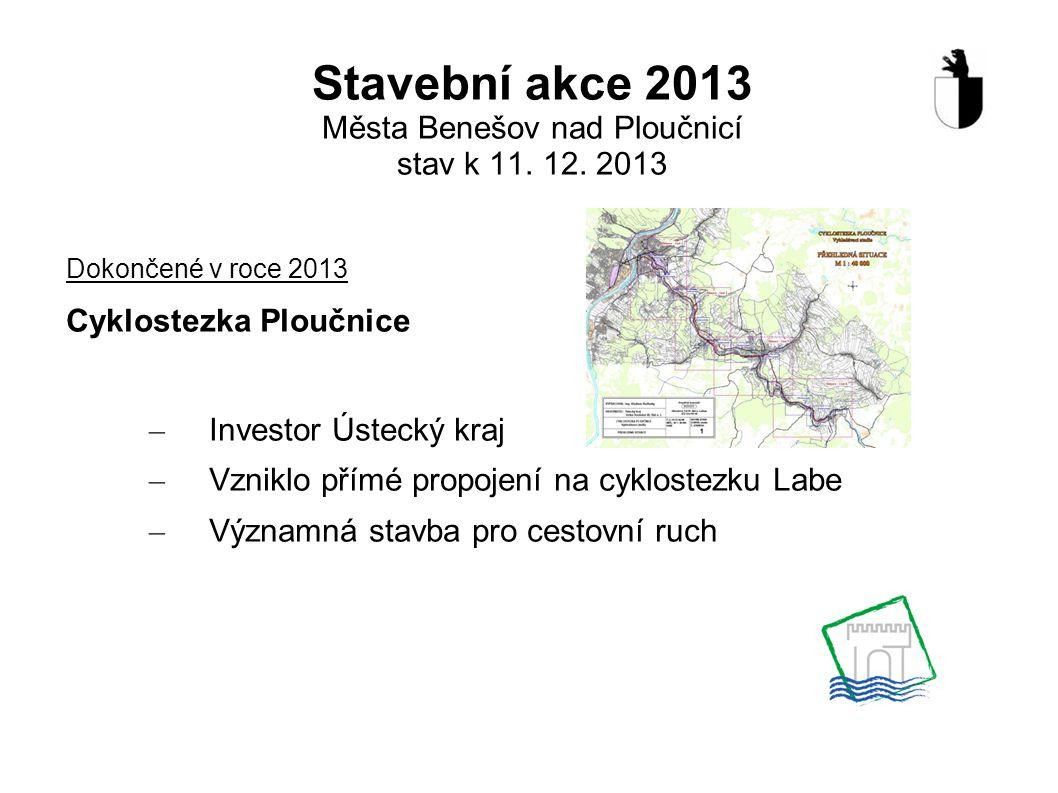 Stavební akce 2013 Města Benešov nad Ploučnicí stav k 11. 12. 2013 Dokončené v roce 2013 Cyklostezka Ploučnice – Investor Ústecký kraj – Vzniklo přímé