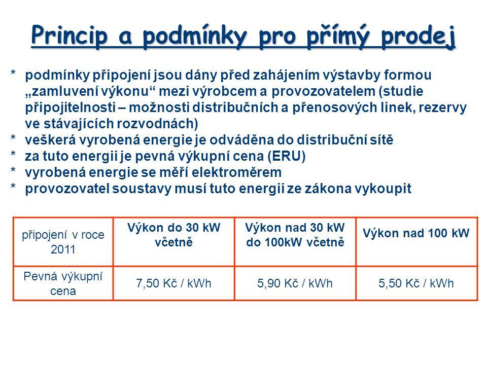 """*podmínky připojení jsou dány před zahájením výstavby formou """"zamluvení výkonu"""" mezi výrobcem a provozovatelem (studie připojitelnosti – možnosti dist"""