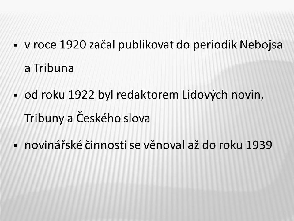  v roce 1920 začal publikovat do periodik Nebojsa a Tribuna  od roku 1922 byl redaktorem Lidových novin, Tribuny a Českého slova  novinářské činnosti se věnoval až do roku 1939 6