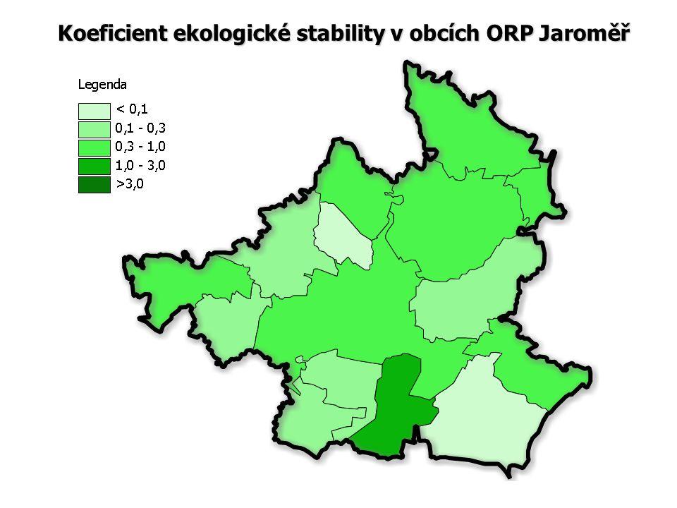 Koeficient ekologické stability v obcích ORP Jaroměř